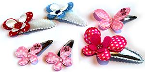 Vrolijke haarspeldjes en haarknipjes voor baby, peuter en kleuter met vlinder figuurtjes