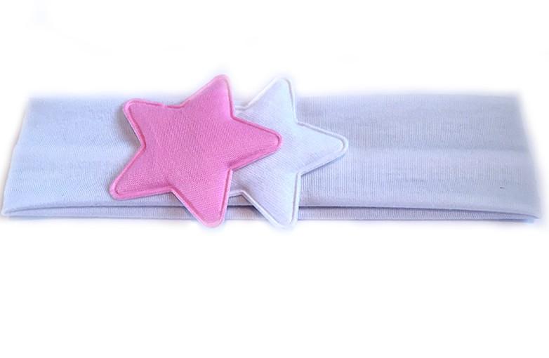 Schattige witte baby haarband. Met 2 leuke sterren in roze en wit afgewerkt.