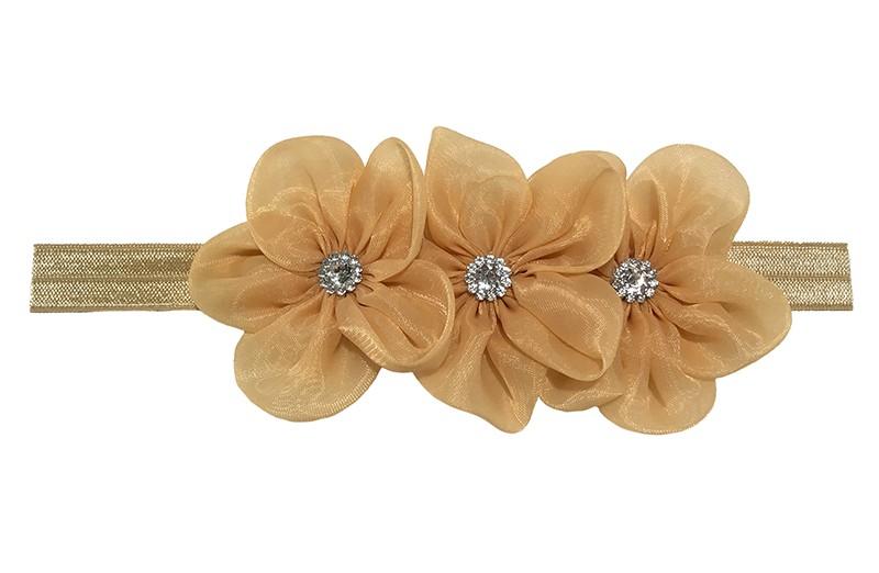 Leuk camel / lichtbruin elastische baby haarbandje.  Met daarop 3 grote nudetint / zalmroze chiffon bloemen met op elk een glanzend zilver pareltje.  Het haarbandje is zonder uit te rekken ongeveer 18 centimeter.