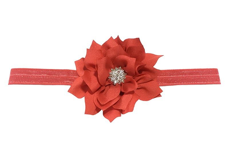 Vrolijk glanzend koraalroze elastische baby haarbandje met een rode laagjes bloem van glanzende stof. Afgewerkt met een leuke parel.  De bloem is ongeveer 8 centimeter groot en het haarbandje is plat neergelegd ongeveer 17.5 centimeter.