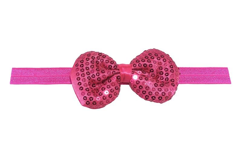 Leuk elastische baby haarbandje fuchsia roze. Met daarop een fuchsia roze stoffen strikje met kleine pailletjes. Het strikje is ongeveer 8.5 centimeter. Niet uitgerekt gemeten is het haarbandje ongeveer 17 centimeter.