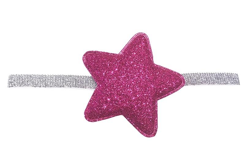 Leuk smal zilver baby haarbandje met een grote felroze glitter ster van ongeveer 7 centimeter.  Niet uitgerekt is het haarbandje 16 centimeter.
