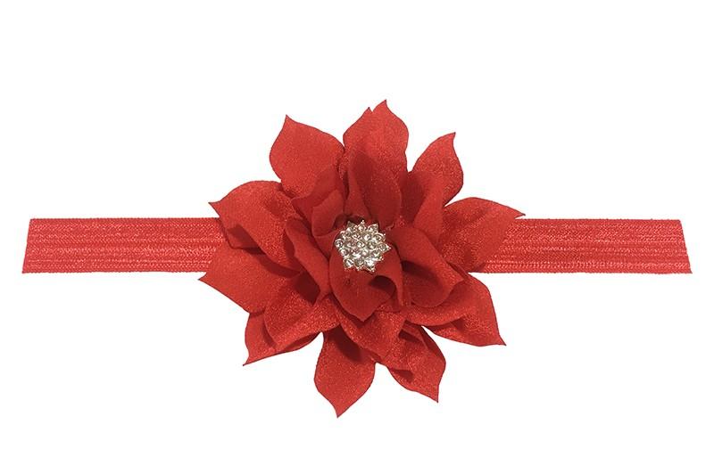 Vrolijk glanzend rood elastische baby haarbandje met een rode laagjes bloem van glanzende stof. Afgewerkt met een leuke parel.  De bloem is ongeveer 8 centimeter groot en het haarbandje is plat neergelegd ongeveer 17.5 centimeter.