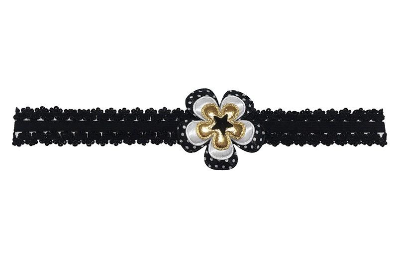 Leuk zwart baby peuter haarbandje in kantlook.  Met een zwart gestippeld bloemetje, een effen wit bloemetje en een glanzend goud bloemetje.  Afgewerkt met een zwart sterretje.  Het haarbandje is van goed rekbaar elastiek.  Niet uitgerekt is het haarbandje ongeveer 18.5 centimeter.