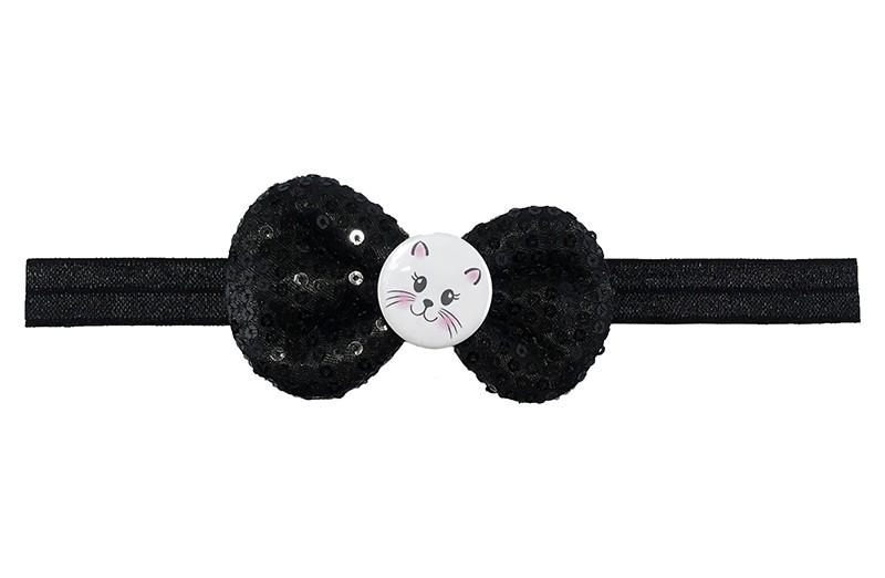 Leuk zwart elastische baby haarbandje.  Met daarop een zwart stoffen strikje met kleine pailletjes.  En een vrolijk poezenkopje.  Het strikje is ongeveer 8.5 centimeter. Niet uitgerekt gemeten is het haarbandje ongeveer 17 centimeter.
