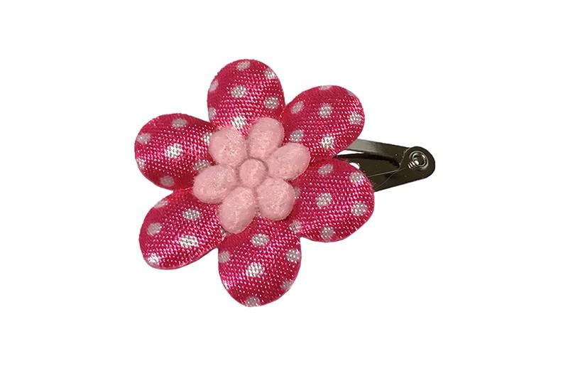 Vrolijk baby haarspeldje met een fuchsia roze bloemetje met witte stippeltjes en een klein licht roze bloemetje.