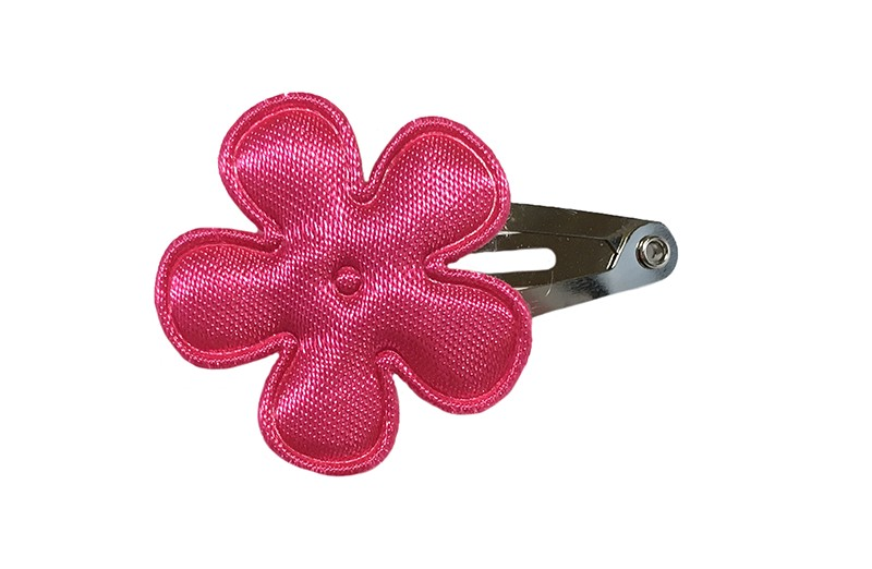 Vrolijk baby haarspeldje met een effen fuchsia roze bloemetje.