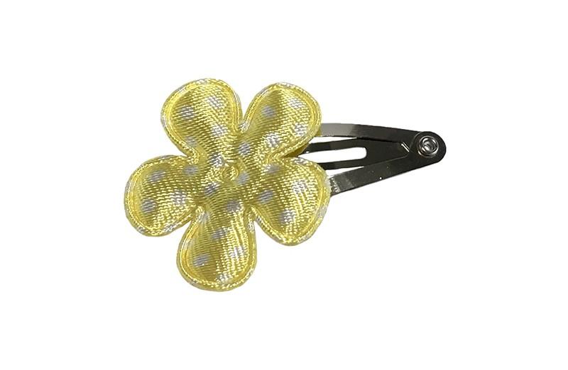 Schattig baby haarspeldje. Met een licht geel bloemetje met witte stippeltjes.
