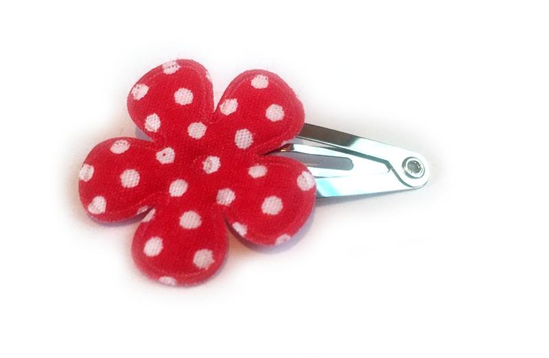 Leuk mini baby haarspeldje met rode bloem met witte stippen.