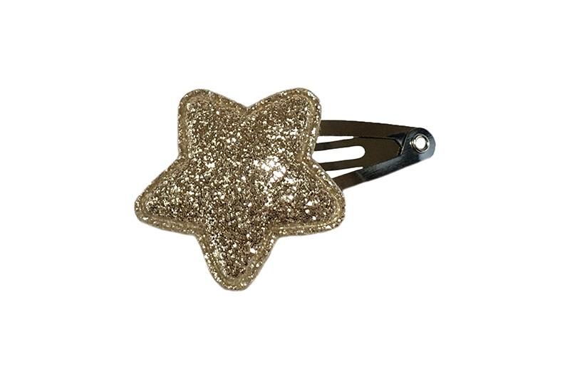 Vrolijk baby haarspeldje met een goud glitter sterretje.