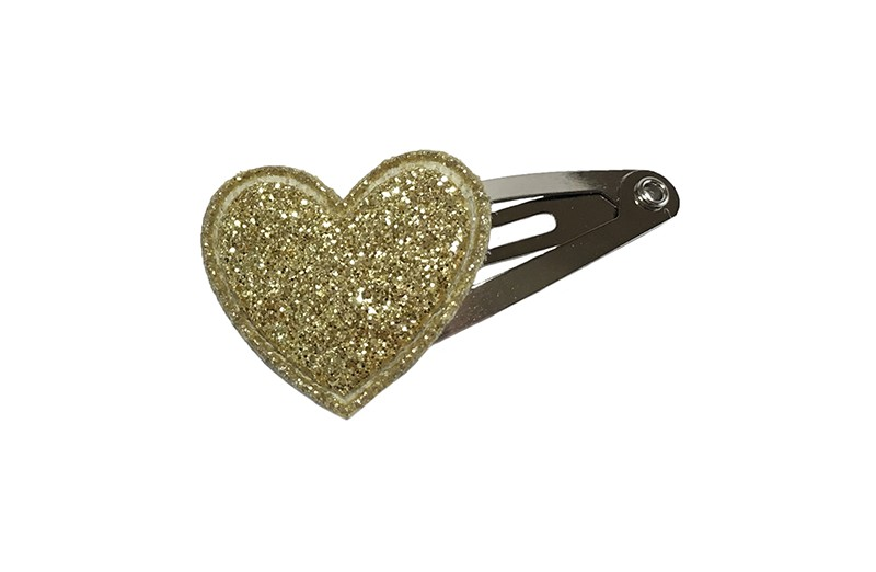 Vrolijk baby haarspeldje met een vrolijk goud glitter hartje.