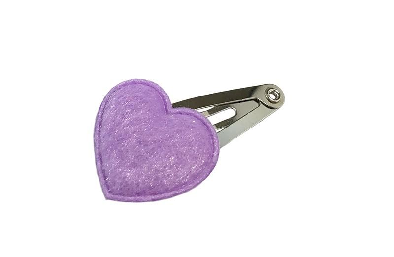 Lief baby haarspeldje met een fluffie lila paars hartje.