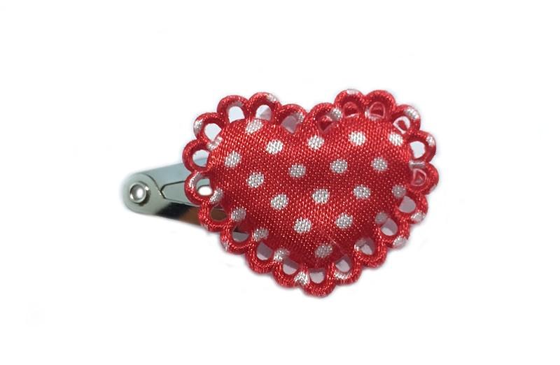 Lief klein baby haarspeldje met daarop een rood hartje met witte stippen. Met leuk afgewerkt randje.