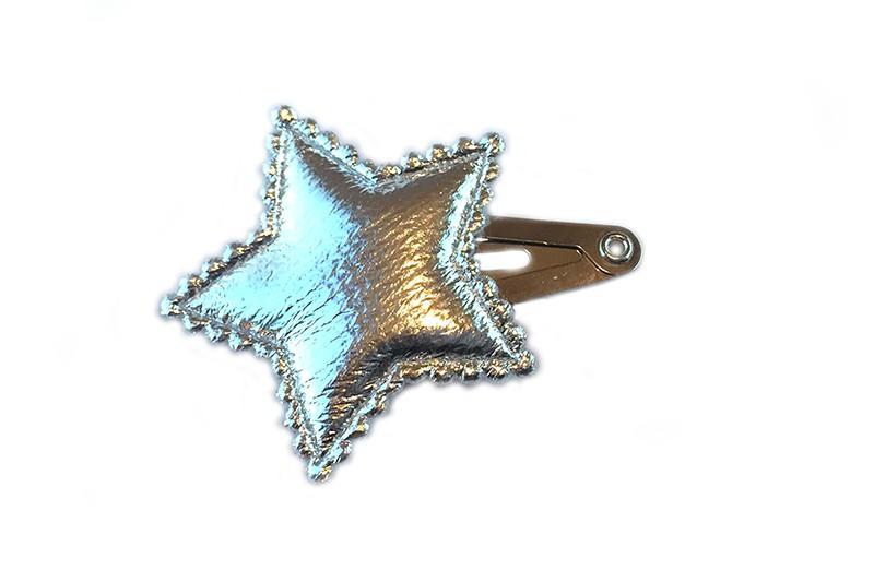 Leuk baby haarspeldje met grote glimmende zilveren ster.