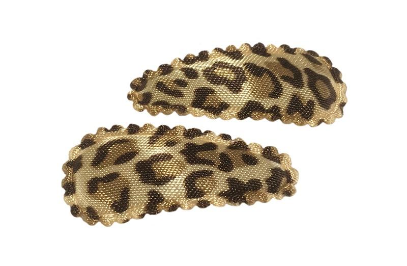 Leuk setje van 2 licht bruine baby haarspeldjes met luipaard printje.