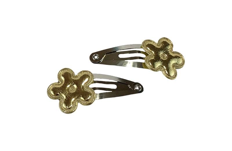 Schattig setje van 2 kleine baby haarspeldjes. Met op elk een glanzend goud mini bloemetje.