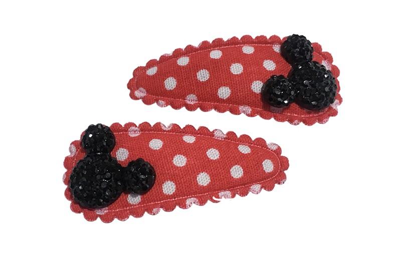 Vrolijk setje van 2 rood met wit gestippelde baby peuter haarspeldjes. Met op elk een zwarte mouse.