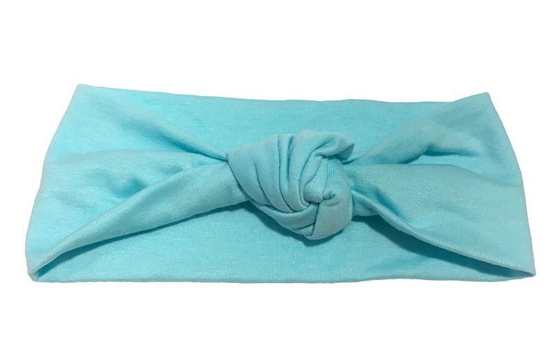 Leuk licht blauw geknoopt baby peuter haarbandje van zachte stof.