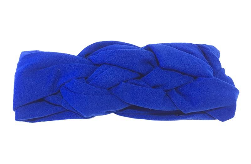 Leuk effen kobalt blauw baby peuter haarbandje. In een leuk dubbel in elkaar geknoopt modelletje. Van zachte rekbare stof.  De breedte van het haarbandje is ongeveer 5.5 centimeter.