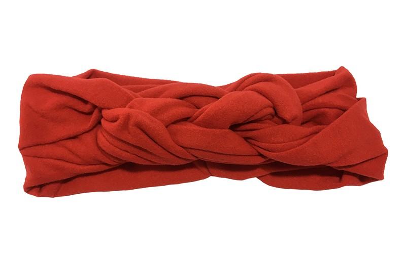 Leuk effen rood baby peuter haarbandje. In een leuk dubbel in elkaar geknoopt modelletje. Van zachte rekbare stof.  De breedte van het haarbandje is ongeveer 5.5 centimeter