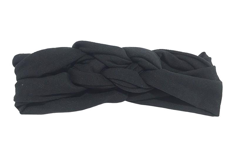 Leuk effen zwart baby peuter haarbandje. Dubbel in elkaar geknoopt. Van zachte rekbare stof.  De breedte van het haarbandje is ongeveer 5.5 centimeter.