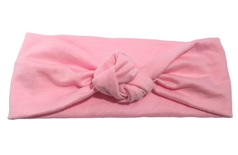 Leuk licht roze geknoopt baby peuter haarbandje van zachte rekbare stof.