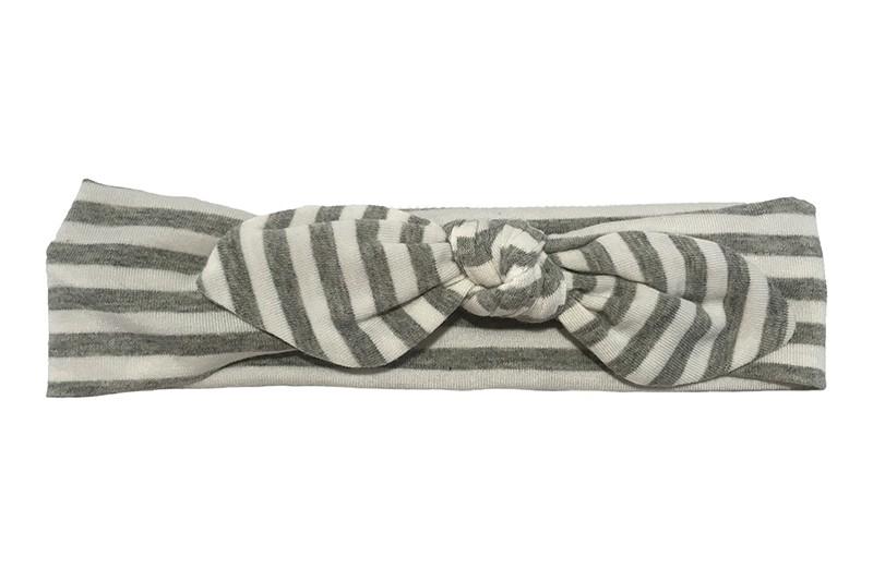 Schattig baby peuter haarbandje grijs met witte streepjes. Van zachte rnrekbare stof geknoopt in een leuk modelletje. rnHet haarbandje is ongeveer 5 centimeter hoog.