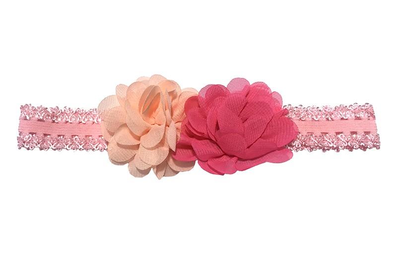 Vrolijk licht roze kantlook baby peuter haarbandje van goed rekbaar elastiek. Met daarop 2 chiffon bloemetjes, zalmroze en fuchsia roze.  Niet uitgerekt, is de omtrek van het haarbandje ongeveer 40 centimeter. Het haarbandje is ongeveer 2 centimeter breed.  De chiffon bloemetjes zijn ongeveer 5 centimeter.