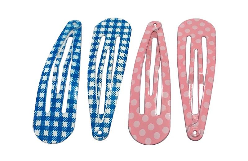 Handig setje van 4 peuter kleuter haarspeldjes.  2 blauw met wit geruit en 2 licht roze met witte stippeltjes.