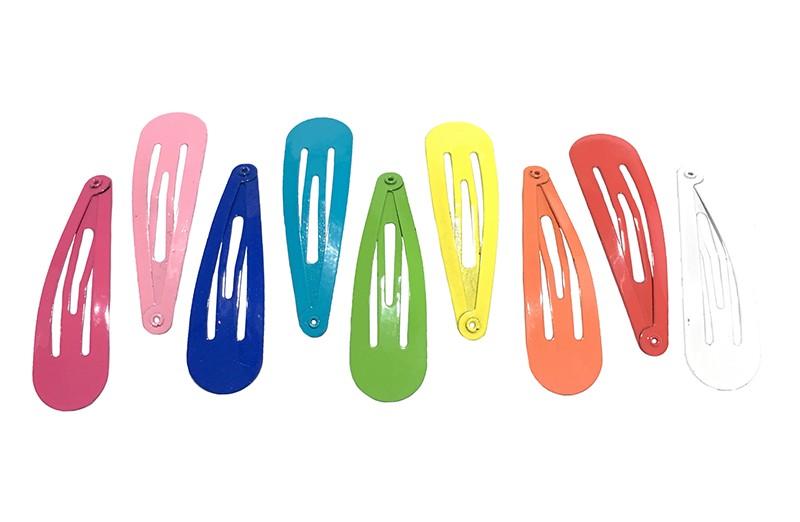 Vrolijk setje van 9 haarspeldjes in verschillende kleurtjes.