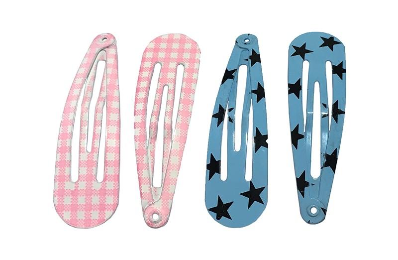 Handig setje van 4 peuter kleuter haarspeldjes.  2 roze geruit en 2 blauw met sterren.