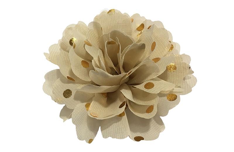 Vrolijke grote beige haarbloem van chiffon met gouden stipjes.  Op een alligator knip van ongeveer 5 centimeter bekleed met beige lint.