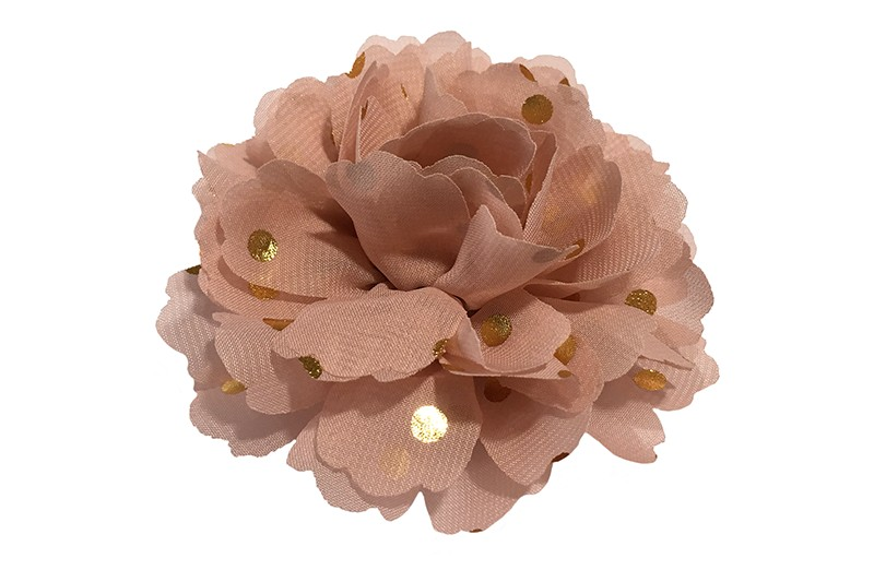 Vrolijke grote oud roze haarbloem van chiffon met gouden stipjes.  Op een alligator knip van ongeveer 5 centimeter bekleed met roze lint.
