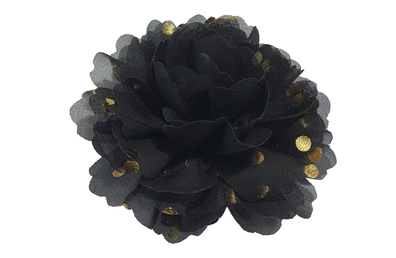 Vrolijke grote zwarte haarbloem van chiffon met gouden stipjes.  Op een alligator knip van ongeveer 5 centimeter bekleed met zwart lint.