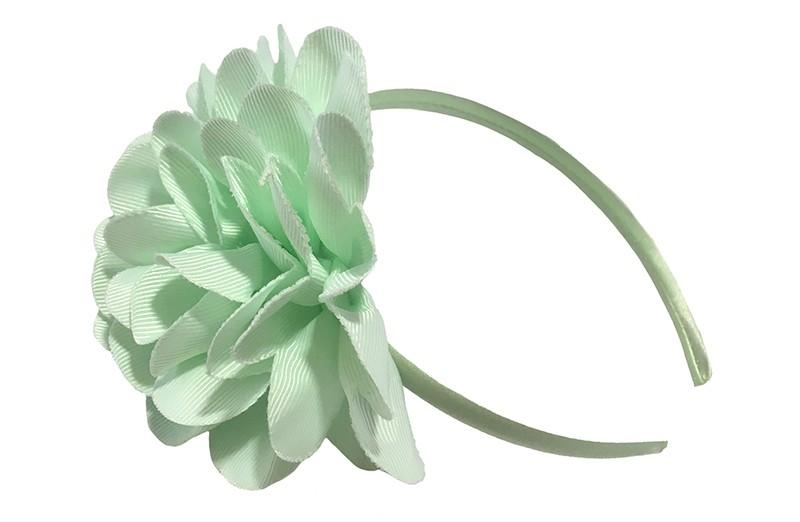 Vrolijke zacht groene (mint groene) meisjes diadeem met een grote zacht (mint) groene bloem.