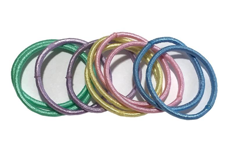 Elastiekjes in lieve zachte kleurtjes: lichtblauw, lichtroze, licht groen, geel en lila. Setje van 10 stuks.
