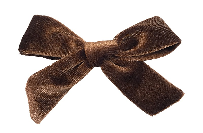 Vrolijk bruin fluweel stoffen haarstrikje.  Schattig in de haartjes van peuter en kleuter meisjes.  Op een plat haarknipje van 4 centimeter.  Ook leuk om cadeau te geven.