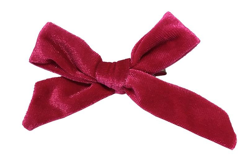 Vrolijk fuchsia roze fluweel stoffen haarstrikje.  Schattig in de haartjes van peuter en kleuter meisjes.  Op een plat haarknipje van 4 centimeter.  Ook leuk om cadeau te geven.