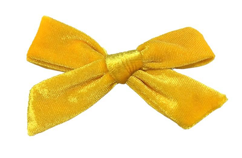 Vrolijk geel fluweel stoffen haarstrikje.  Schattig in de haartjes van peuter en kleuter meisjes.  Op een plat haarknipje van 4 centimeter.  Ook leuk om cadeau te geven!