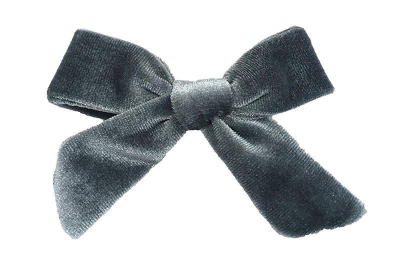 Vrolijk grijs fluweel stoffen haarstrikje.  Schattig in de haartjes van peuter en kleuter meisjes.  Op een plat haarknipje van 4 centimeter.  Ook leuk om cadeau te geven.