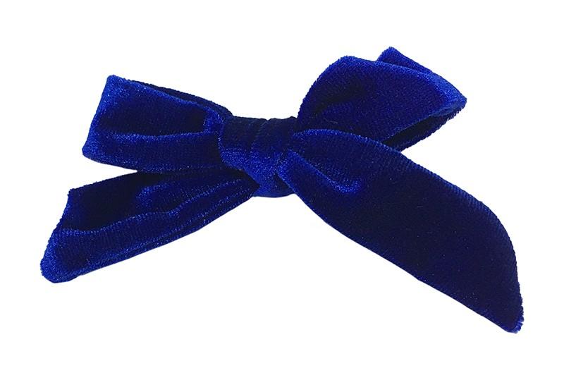 Vrolijk (kobalt) donker blauw fluweel stoffen haarstrikje.  Schattig in de haartjes van peuter en kleuter meisjes.  Op een plat haarknipje van 4 centimeter.  Ook leuk om cadeau te geven.
