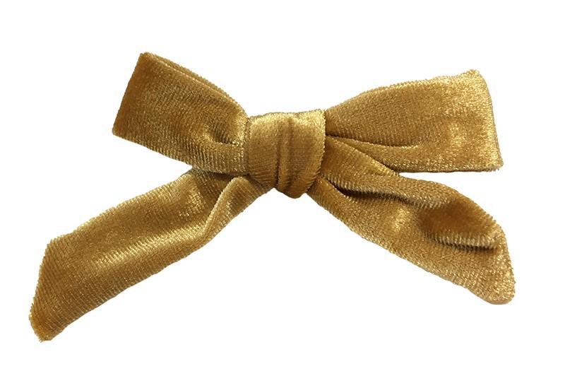 Vrolijk licht bruin fluweel stoffen haarstrikje.  Schattig in de haartjes van peuter en kleuter meisjes.  Op een plat haarknipje van 4 centimeter.  Ook leuk om cadeau te geven!