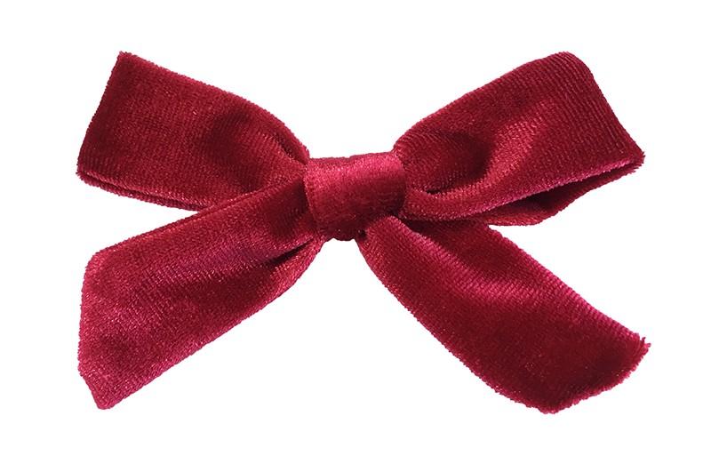 Vrolijk rood fluweel stoffen haarstrikje.  Schattig in de haartjes van peuter en kleuter meisjes.  Op een plat haarknipje van 4 centimeter.  Ook leuk om cadeau te geven.