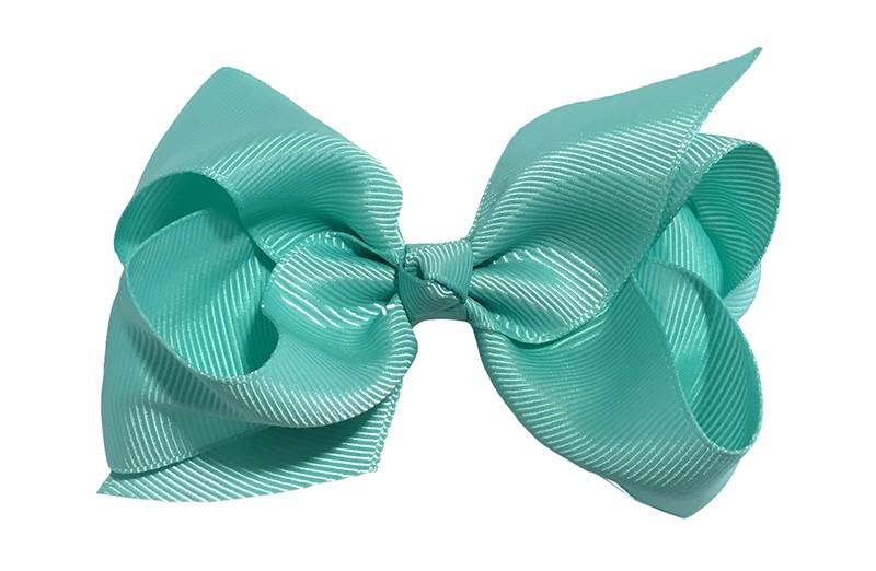 Leuke grote effen (mint) groene meisjes haarstrik van lint. Op een platte haarknip van 4.5 centimeter bekleed met (mint) groen lint. De strik heeft een afmeting van ongeveer 10 centimeter.