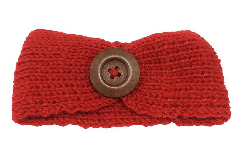 Mooie gehaakte baby haarband rood met bruine houten knoop. Lekker warm deze winter voor de kleine meisjes.