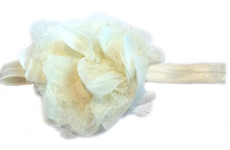 Leuke creme peuter / kleuter haarband met mooie creme bloem van stof en kant.