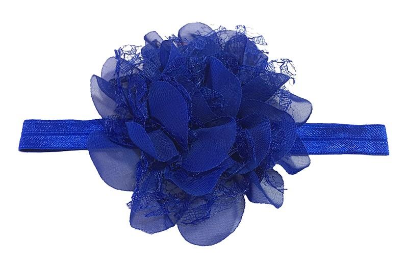 Leuk kobalt blauw peuter / kleuter haarbandje met mooie kobalt blauwe bloem van stof en kant.
