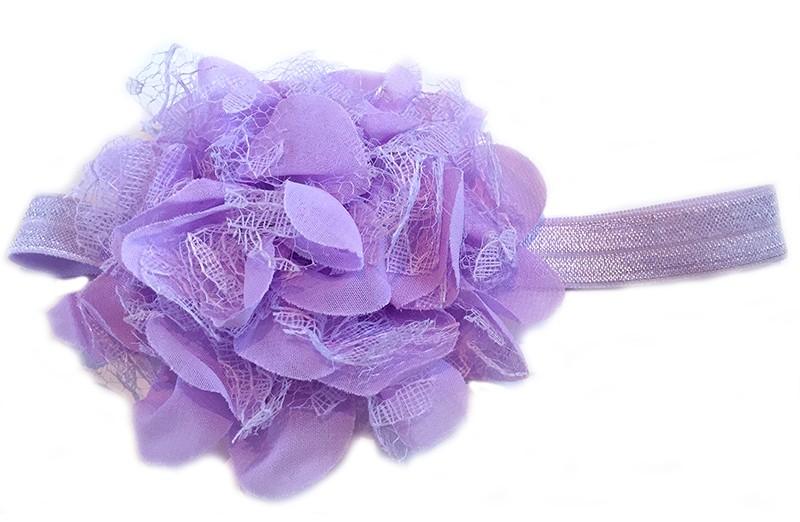 Leuke lila peuter / kleuter haarband met mooie lila bloem van stof en kant.