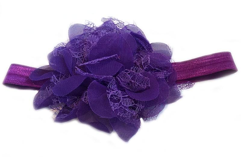 Leuke paarse peuter / kleuter haarband met mooie paarse bloem van stof en kant.