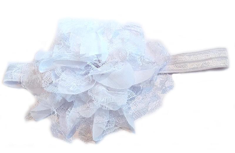 Leuke witte peuter / kleuter haarband met mooie witte bloem van stof en kant.